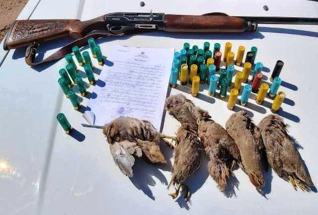 دستگیری متخلفان شکار و صید پرندگان منطقه شکار ممنوع کوه بزرگی نایین