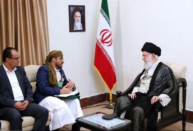 سخنگوی جنبش انصارالله یمن و هیات همراه با رهبری دیدار کردند