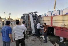 ۳ کشته و ۱۷ مصدوم در تصادف فجیع تریلی با اتوبوس