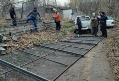 تخریب دیوار 100 متری غیر مجاز در باغات کن