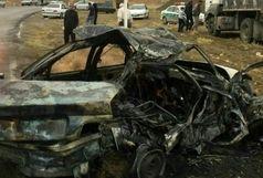 مرگ دلخراش راننده پژو در شعله های آتش