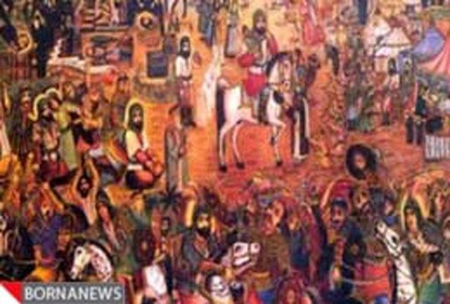 رونمایی پرده 32 متری عاشورایی بیوک احمری در نگارخانه 66