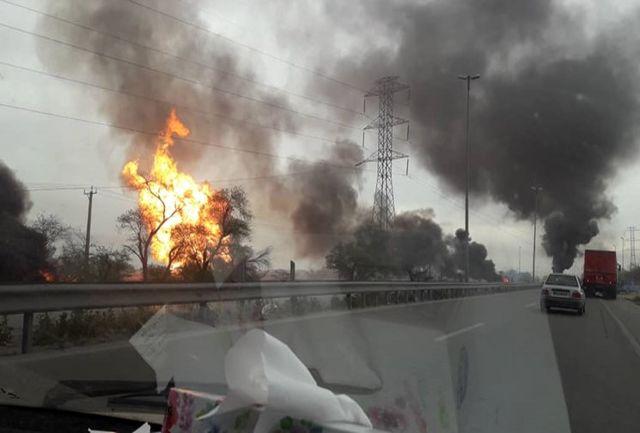 آتشسوزی  خط لوله گاز در آزادراه اهواز به ماهشهر / آتشسوزی مهار شد
