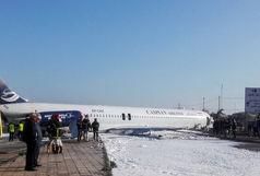 ورود هواپیمای مسافربری از باند فرودگاه به خیابان های ماهشهر