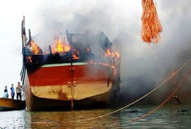 ۲ کشته و ۳ مجروح بر اثر آتش سوزی لنج باری در چابهار