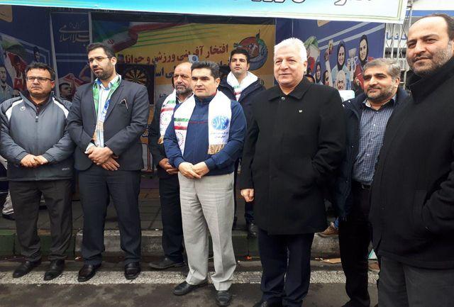 رییس فدراسیون بدنسازی و پرورش اندام در مراسم راهپیمایی حاضر شد