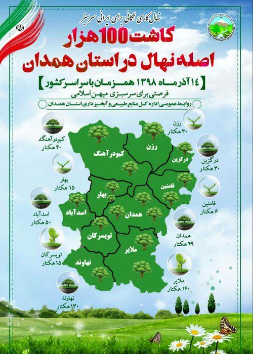 کاشت ۱۰۰ هزار اصله نهال در همدان