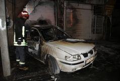 تصادف و آتش سوزی دو خودرو دو مجروح بر جای گذاشت