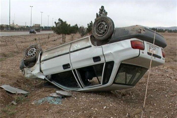 پراید باز هم حادثه آفرید/ چهار مصدوم در پی واژگونی خودرو