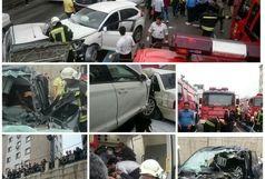 عملیات نجات آتش نشانان در پی رخداد حادثه تصادف در رشت