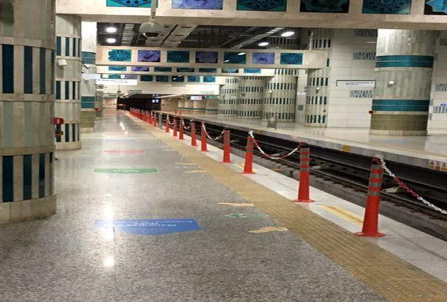 نصب پایلوت المانهای ترافیکی در حریم ریلی ایستگاه های مترو+عکس