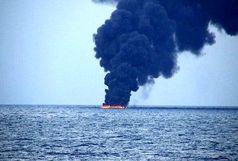 ایران به کمک کشتی آتش گرفته شتافت/ ۴۴ ملوان نفتکش های حادثه دیده در جاسک هستند