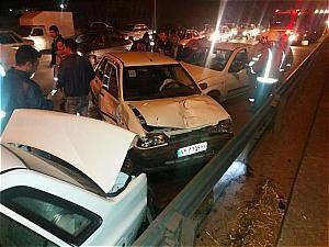 نخستین تصاویر از تصادف زنجیره ای بزرگراه امام علی (ع) + فیلم