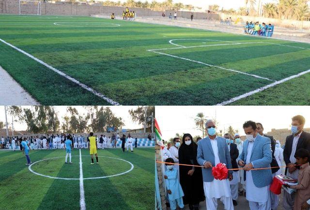 زمین چمن مصنوعی مینی فوتبال روستای مچ قاسم شهرستان بمپور افتتاح شد