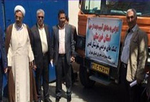 اعزام دو دستگاه کامیون اقلام ضروری از شهرستان قدس به مناطق سیل زده خوزستان