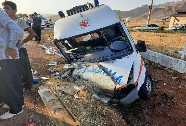 تصادف آمبولانس اورژانس و پژو ۴۰۵ در جاده کرمانشاه به روانسر با ۷ مصدوم