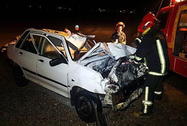 کشته شدن یک جوان بر اثر واژگونی خودرو پراید