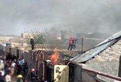 آتش سوزی در انبار دپوی سوخت زاهدان