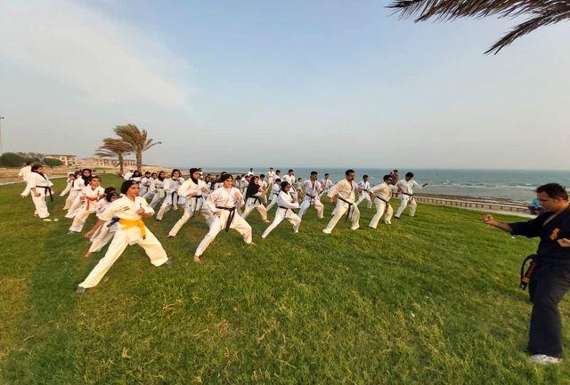 نمایش زیبای ۲۰۰ ورزشکار قشمی در دو سبک کیوکوشین و شوتوکان