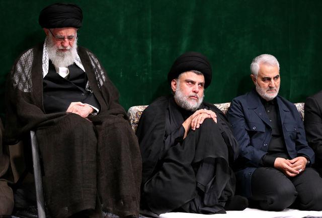 سینهزنی رهبری، مقتدی صدر و سردار سلیمانی با نوحه حذف اسراییل + فیلم