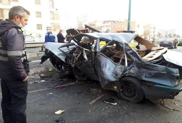 نخستین تصاویر از تصادف شدید در بزرگراه یادگار امام+ فیلم