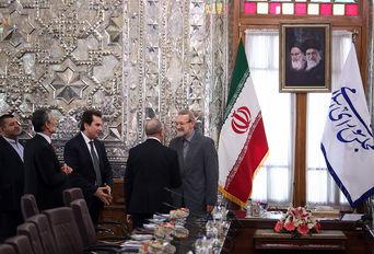 دیدار رییس کمیسیون سیاست خارجی مجلس ایتالیا با علی لاریجانی