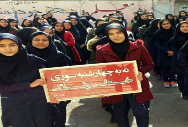 کمپین نه به چهارشنبه سوری خطرناک در سطح مدارس کلانشهر کرمانشاه اجراء شد