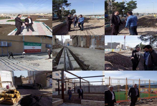 بازدید اسماعیل آقاخانی دهیار قمصر از پروژه های عمرانی در دست اجراء روستا