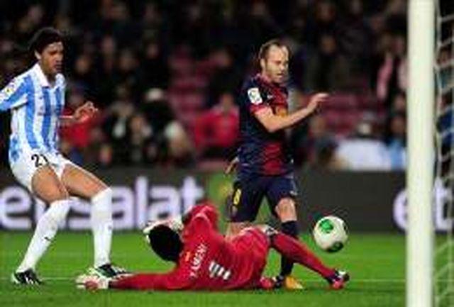 تساوی آبیواناریها برابر مالاگای 10 نفره/ بارسلونا در دقیقه 90 پیروزی را از دست داد