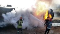 واژگونی و آتش سوزی تانکر سوخت در مسیر اهواز - اندیمشک حادثه ساز شد+ببینید