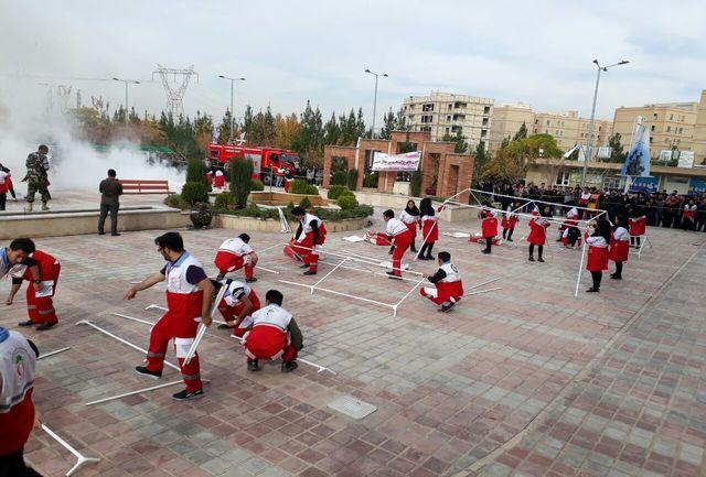 مانور بزرگ امداد و نجات با حضور ۲۹ تیم دانشجویی در دانشگاه شهاب دانش قم برگزار شد