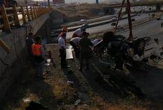 مرگ راننده ۲۰۶ بر اثر سقوط از پل آزادراه تهران - پردیس