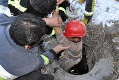 نجات کارگر جوان از عمق چاه در قزوین