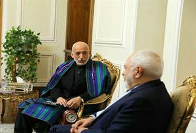حامد کرزای با دکتر ظریف دیدار و گفتگو کرد