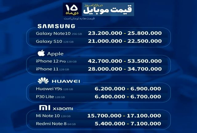 آخرین قیمت تلفن همراه در بازار موبایل مشهد