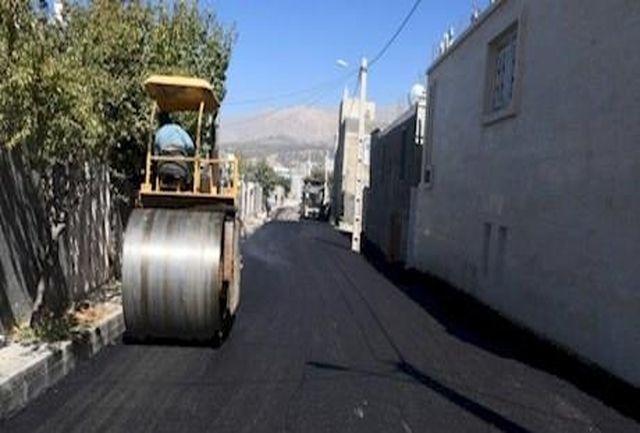 عملیات اجرایی ۱۴ هزار متر مربع آسفالت در نجف آباد یاسوج+تصاویر