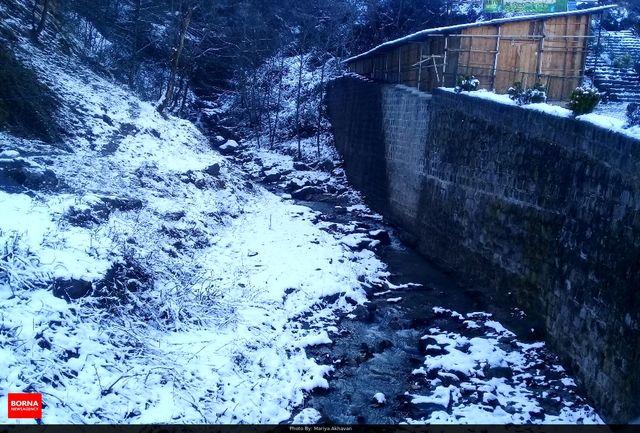 بارش برف پاییزی مناطق کوهستانی گیلان را سفید پوش کرد