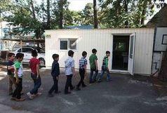 تحصیل دانش آموزان مرکز شهرستان زیرکوه در کانکس