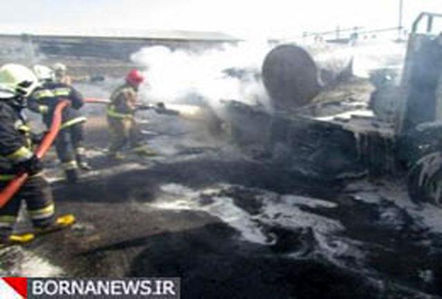 تانکر گازوئیل در محوطه گاراژ آتش گرفت