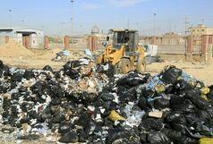 پاکسازی  127 هکتار از ارضی پایانه مرزی مهران از زباله