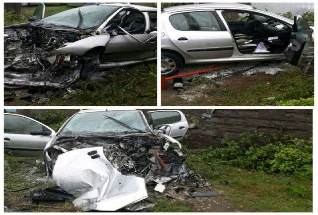 """برخورد شدید خودرو پژو 206  با تیر برق در محور """" رشت – انزلی """""""