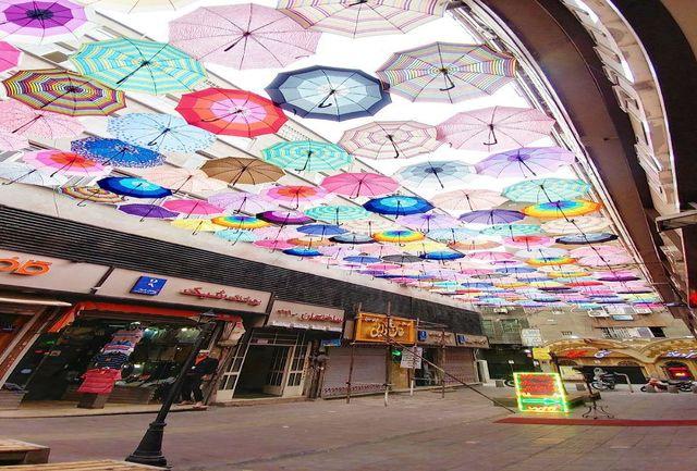 کوچه مهرناز ، چتر باران و رنگارنگ، جایی برای سلفی گرفتن در مرکز پایتخت