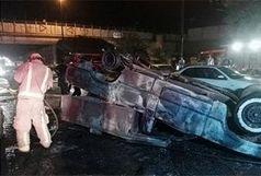 مصدومیت یک نفر در حادثه واژگونی خودرو سمند