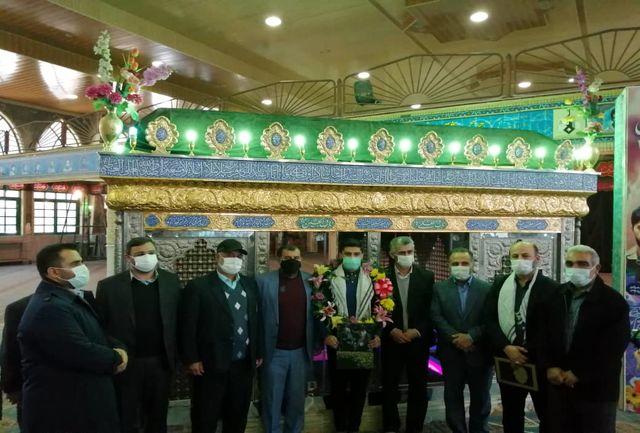 مراسم استقبال از علی بهبود در حسینیه عاشقان ثارالله قائمشهر برگزار شد