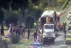 آتش گرفتن یک دستگاه اتوبوس در آزادراه تهران- کرج