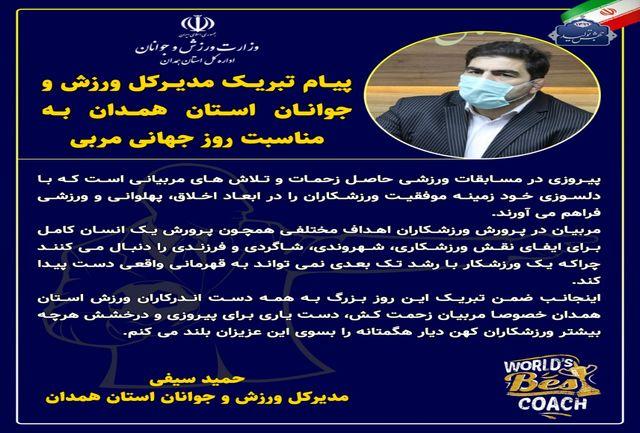 مدیرکل ورزش و جوانان استان همدان روز جهانی مربی را تبریک گفت